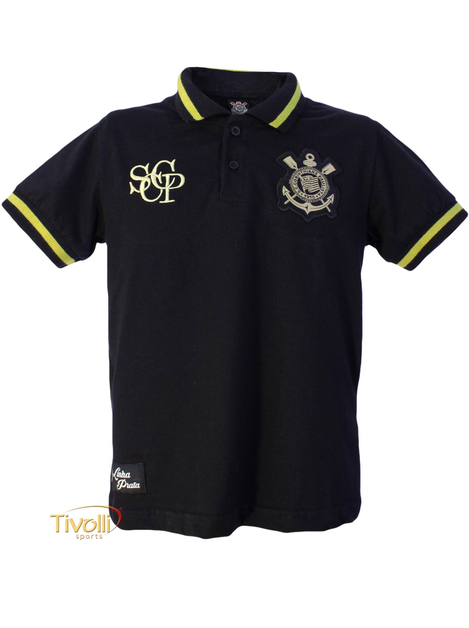 Camisa Polo Ouro Infantil Corinthians Natural Sports