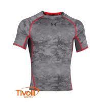 Camiseta Under Armour - HeatGear Printed Cinza e Laranja