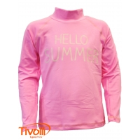 Camiseta Alto Giro - Infantil Manga longa Light UV Hello Rosa Power