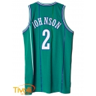 Regata Charlotte Hornets Retired Performance Larry Johnson Adidas - NBA verde, roxa e branca